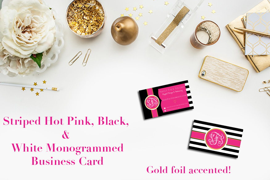 Monogrammed personalized striped hot pink black white printable monogrammed personalized striped hot pink black white printable businesscalling cards thumbnail colourmoves