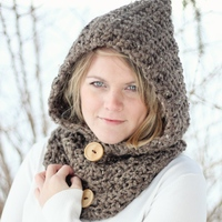 CROCHET PATTERN HOODIE Cowl The Toronto - Thumbnail 2