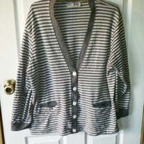 Cathy Daniels Grey and White Striped Cardigan