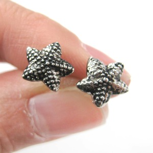 Small Starfish Star Shaped Textured Stud Earrings in Dark Silver