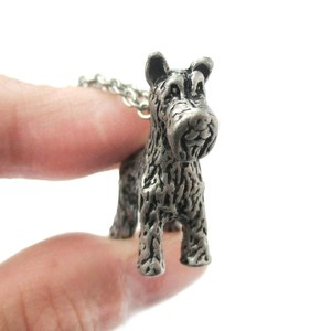 3D Realistic Schnauzer Animal Dog Breed Charm Necklace in Silver