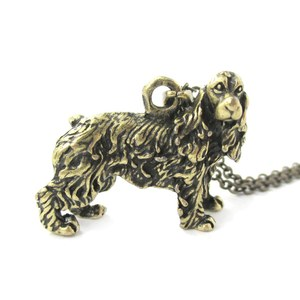 3D Realistic English Cocker Spaniel Animal Dog Breed Charm Necklace in Brass