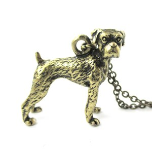 3D Realistic Boxer Dog Breed Animal Charm Necklace in Brass