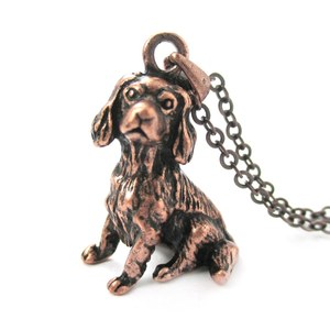 3D Realistic King Charles Spaniel Animal Dog Breed Charm Necklace in Copper