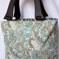 Wood Handled Bag {Sea Glass Paisley}