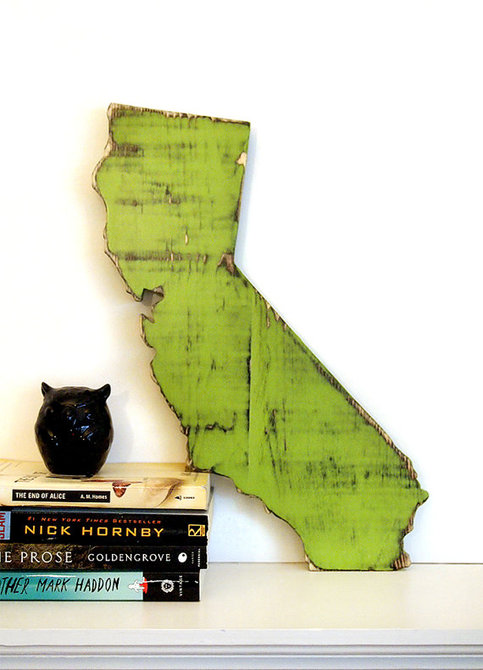 California State (Pictured in Avocado) Pine Wood Sign Wall Decor Rustic Americana Cottage Country Chic Alternative Wedding Guest Book