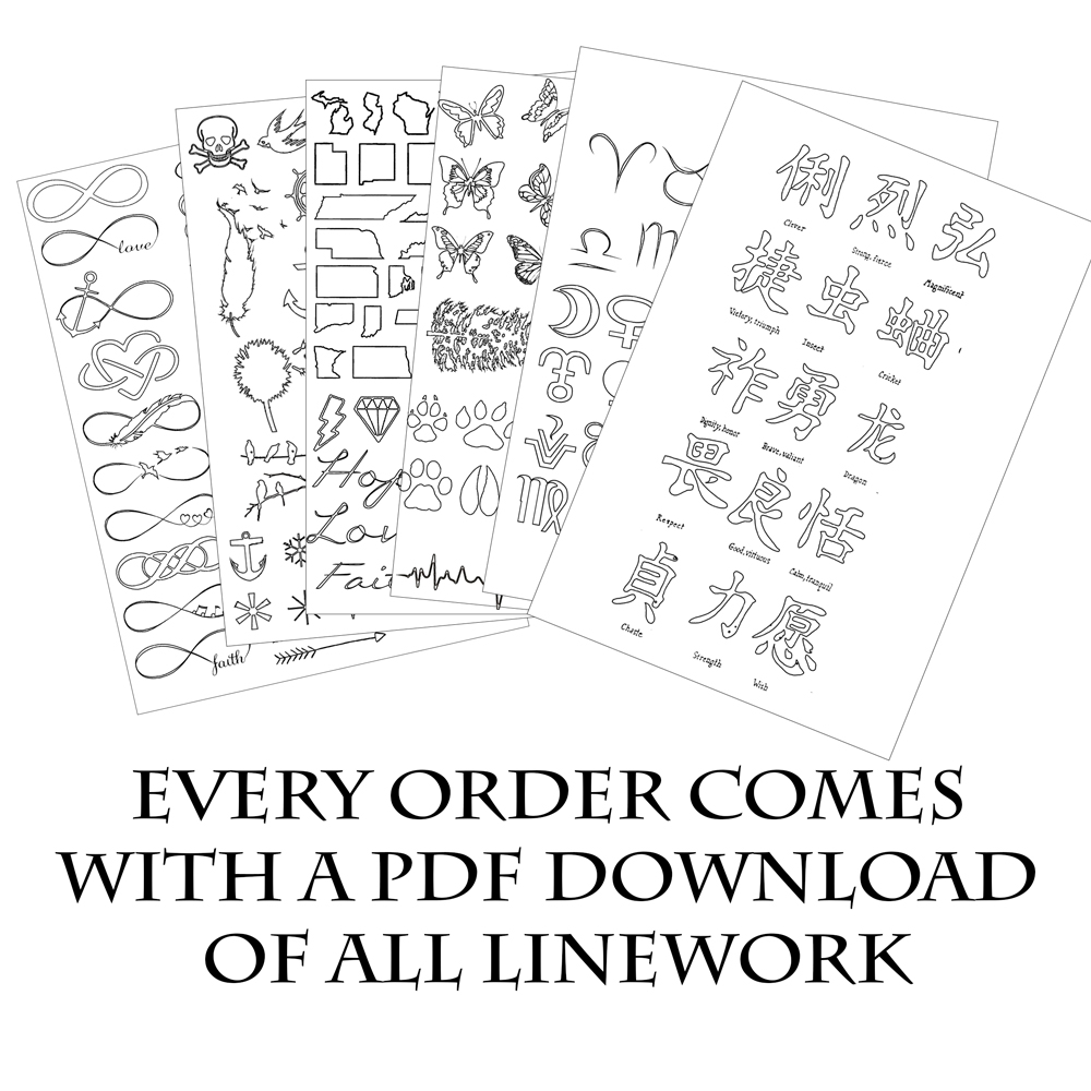 walk in tattoo poster 36x 24 with instant linework pdf download - Tattoo Coloring Book Pdf
