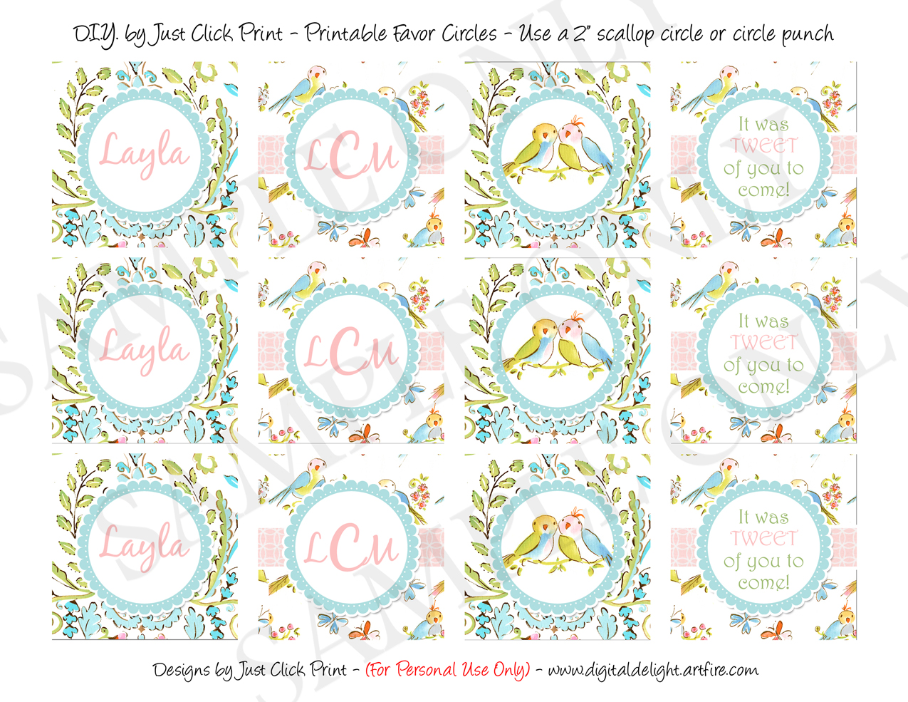 Tweet Little Lovebirds Baby Shower Favors Tags Cupcake Toppers Printable