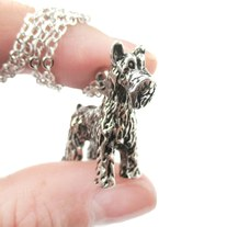 3D Detailed Schnauzer Shaped Dog Lover Animal Charm Necklace in Shiny Silver for Women