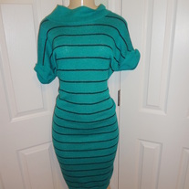 Vintage Plus Size Teal and Black Sweater Dress