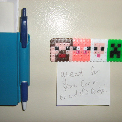 minecraft magnet - 4 in 1 - steve, sheep, pig and creeper