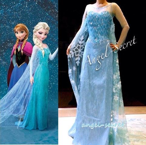 J777 Movies Frozen Snow Queen Elsa Cosplay Costume Deluxe