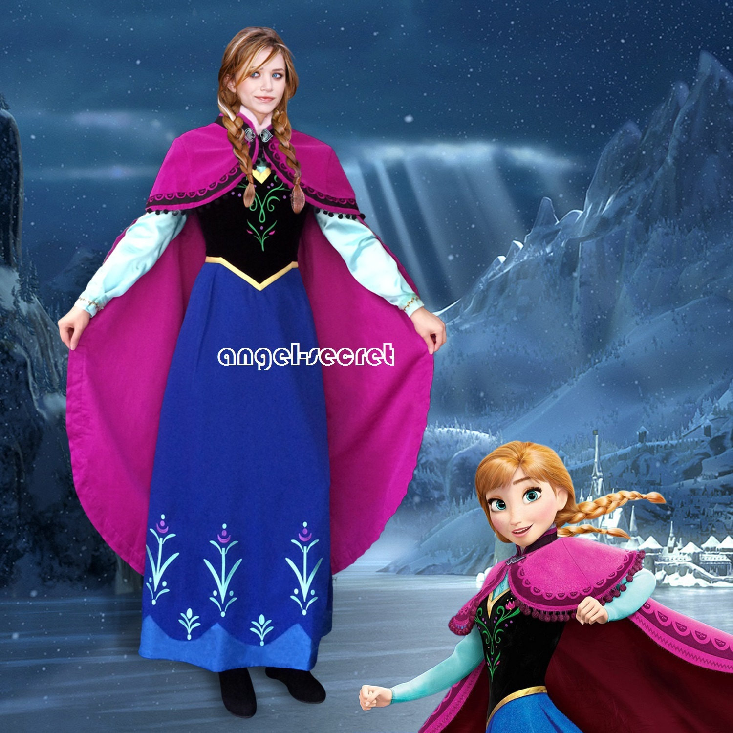 J787 [Adult] Movies Frozen princess ANNA Cosplay Costume Deluxe Dress tailor made adult party  sc 1 st  angel-secret - Storenvy & J787 [Adult] Movies Frozen princess ANNA Cosplay Costume Deluxe ...