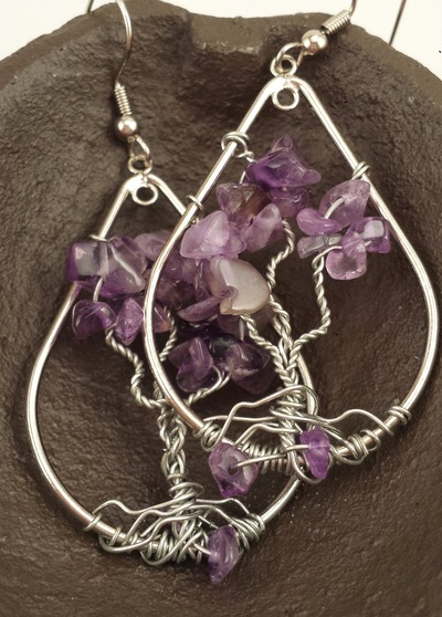 Hand made Tree of Life Earrings, tear drop amethyst