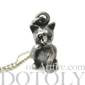 Baby Kitty Cat Realistic Animal Pet Charm Necklace in Silver