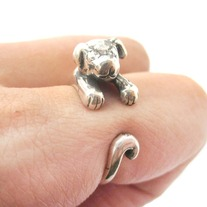 Realistic Puppy Dog Animal Wrap Around Hug Ring In Solid 925 Sterling Silver - US Sizes 4 To 8.5