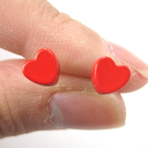 Small Simple Red Love Heart Shaped Stud Earrings