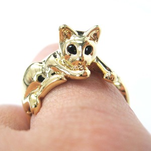 Miniature Kitty Cat Animal Wrap Hug Ring in SHINY Gold - Sizes 5 to 9