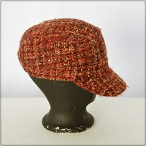 Red and Orange Knit Pageboy Hat