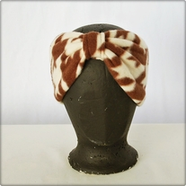 Brown and White Fleece Houndstooth Headband