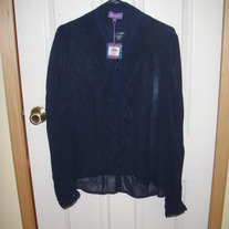 Purple Blue Sheer Blouse XL