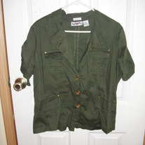 Too Hot Green Military Top 2X