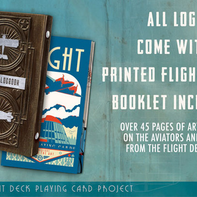 Flight deck logbook with 2 le playing card decks