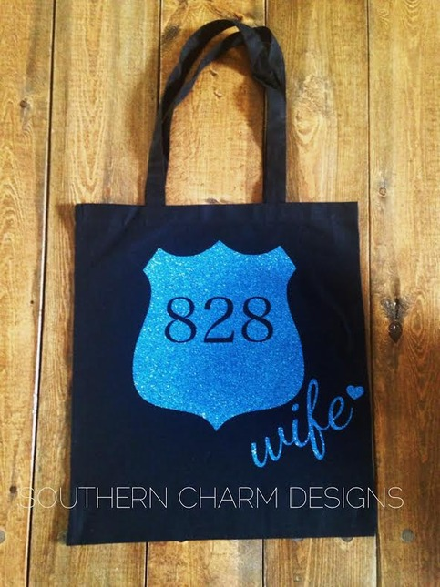 Police Wife Badge Canvas Tote Southern Charm Designs