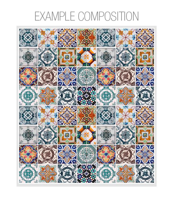 portuguese tiles sticker for kitchen home wall decor pack 48 online. Black Bedroom Furniture Sets. Home Design Ideas