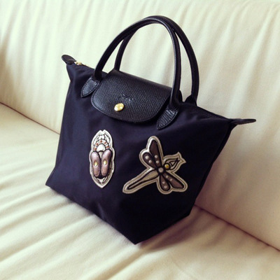 ... Longchamp small black le pliage insect badges bag 8264eec2ea86f