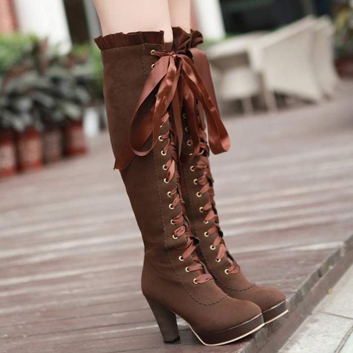 Fashion sexy bow knee high heeled boots for fall winter · Cute ...