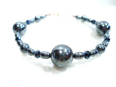 B117: Hematite and Crystal Bracelet with Copper Clasp