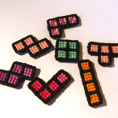 Cross-stitch tetris magnets: autumn blush