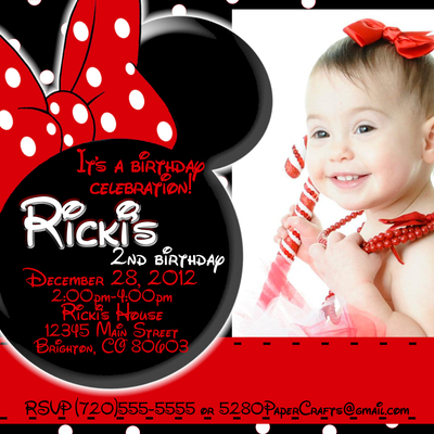 Disney Minnie Mouse Birthday Invite You Print Custom wording – Minnie Mouse Personalized Birthday Invitations
