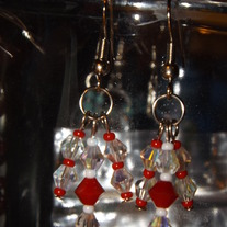 Coral Red and Clear  Crystal Earrings
