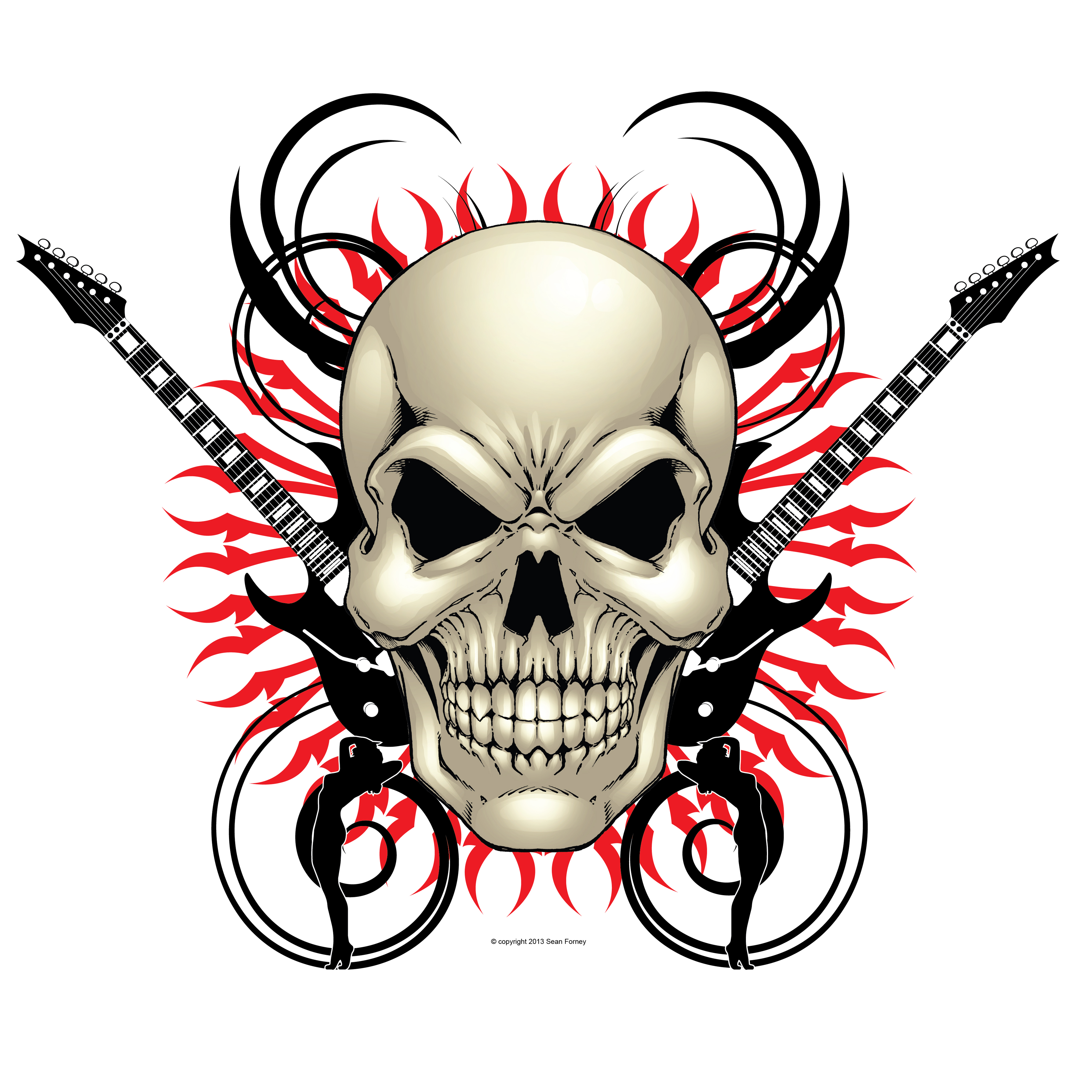 skull design with guitars 12 x 12 $ 10 00 on sale skull and guitar 12 ...