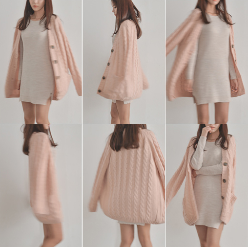 Free Shipping} Bongjashop Light Peach Pink Pastel Cable Knit Loose ...