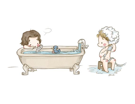 Bath Time 8 5x11 Print Chibi Steve Rogers Bucky Barnes