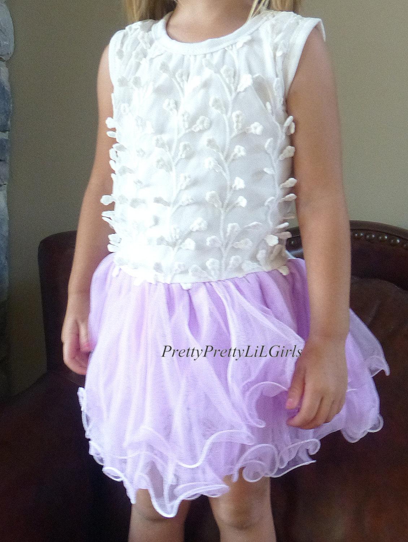 Flower Girl Dress Little Girls Dress Purple Dress Girls Lace
