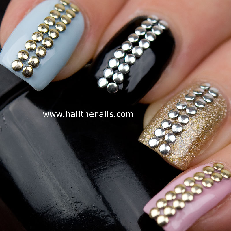 nailart | Metallic Studs - Gold & Silver Stud Nail Art YD081 ...