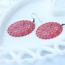 Large Oval Filigree Cutout Coral Dangle Earrings