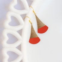 Coral Color Dipped Flat Brass Dangle Earrings