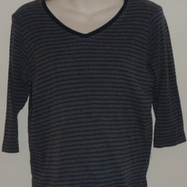 Gray/Black Stripe Nursing Top-Motherhood Maternity Nursingwear Size Medium