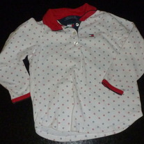 White/Red/Blue Long Sleeve Shirt-Tommy Hilfiger Size 4T