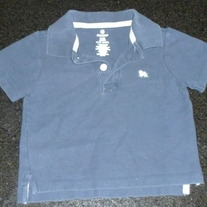 Navy Blue Collar Short Sleeve Shirt-Old Navy Size 6-12 Months