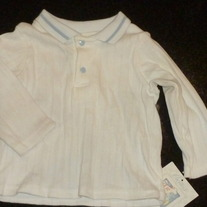 White Long Sleeve Shirt With Blue Buttons-NEW-Carters Size 6-9 Months