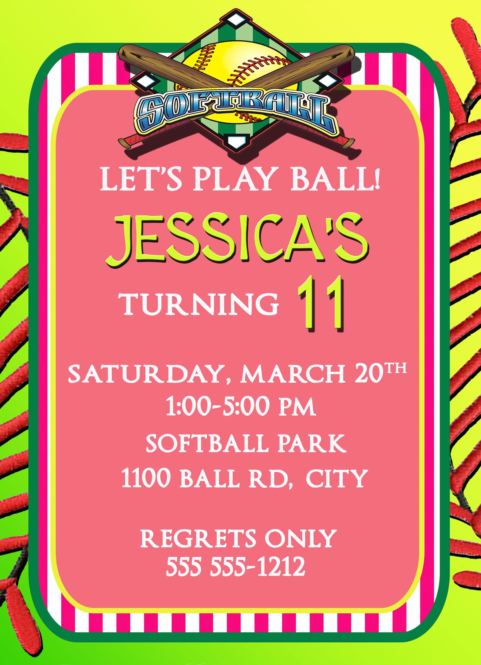 Softball Personalized Birthday Invitation 2 Sided ...