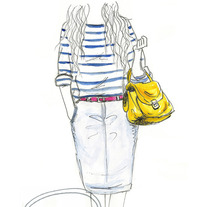 """My Yellow Handbag"" 5x7 Matte Print, Pencil Watercolor Fashion Illustration, Art By Jacy Lee Pulford"