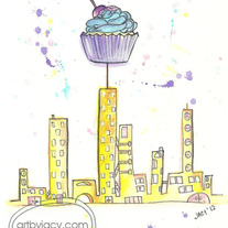 "8x10 Matte Print, ""Sweet Cityscape"" Ink Watercolor Illustration"