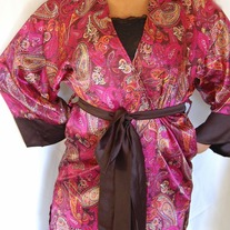 NEW Short & Sexy Satin Robe- Plum Paisley